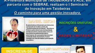 Folder de divulgação do I Seminário de Inovação Taiobeiras