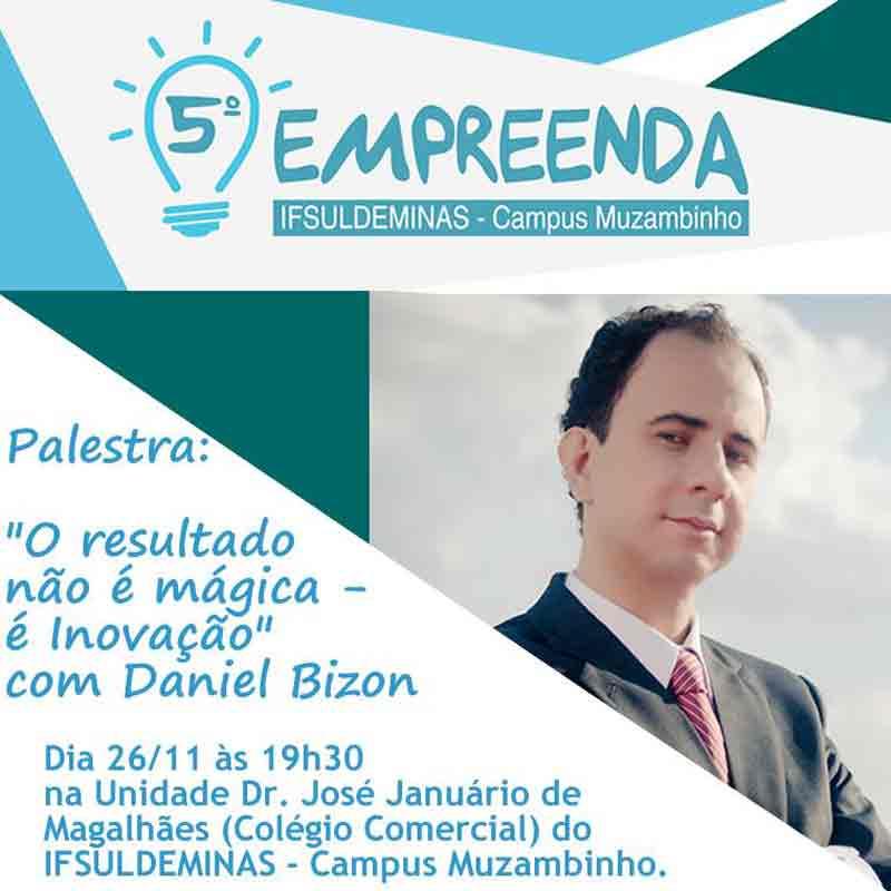 Folder de chamada da palestra de Daniel Bizon