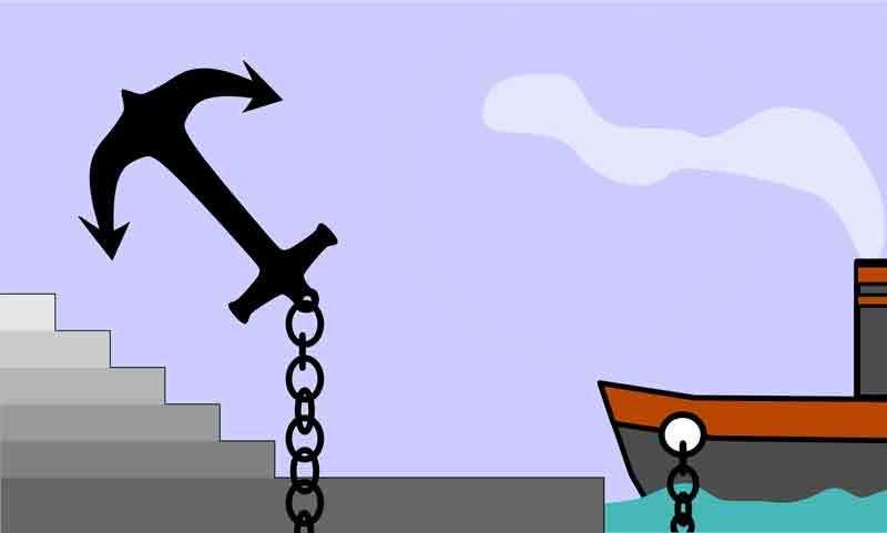 A âncora simboliza a força para saber como motivar uma equipe de trabalho