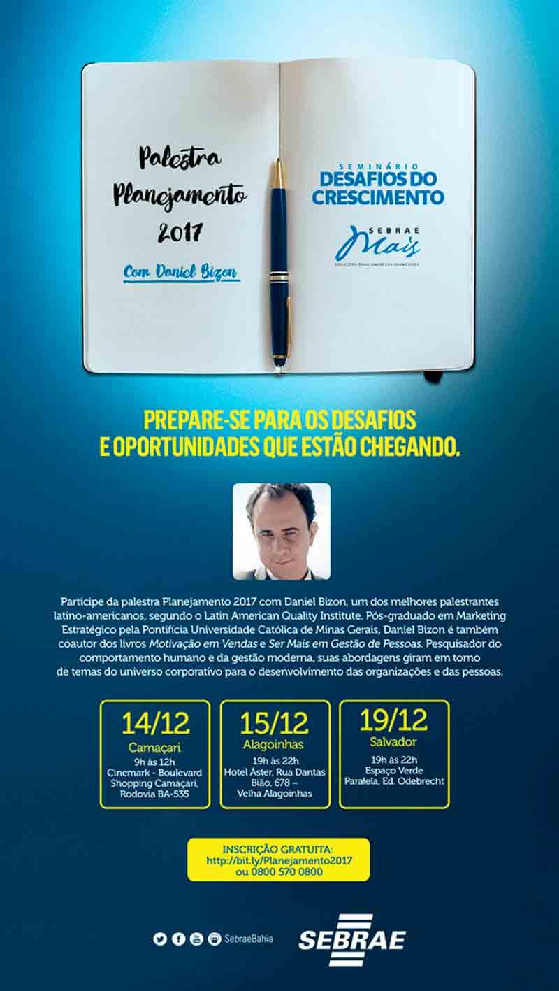 """Divulgação palestra Daniel Bizon """"Desafios do Crescimento"""""""