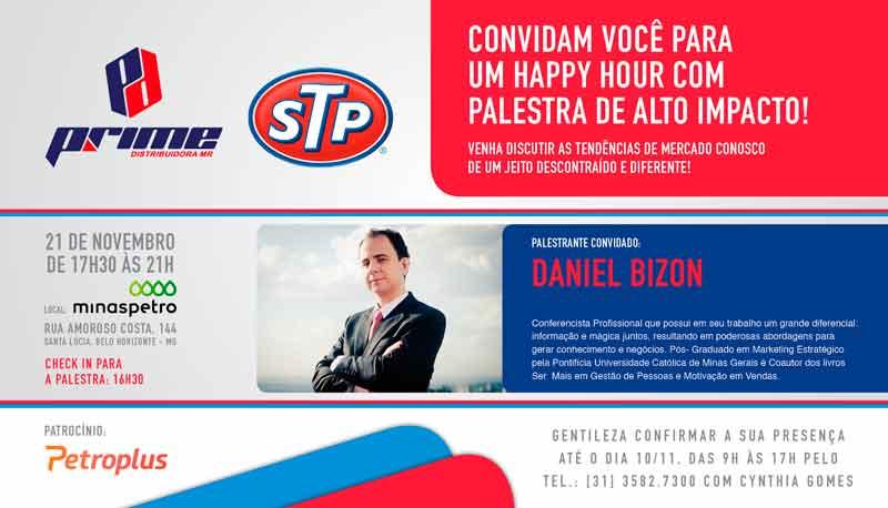 Convite para a palestra da Prime Distribuidora com Daniel Bizon