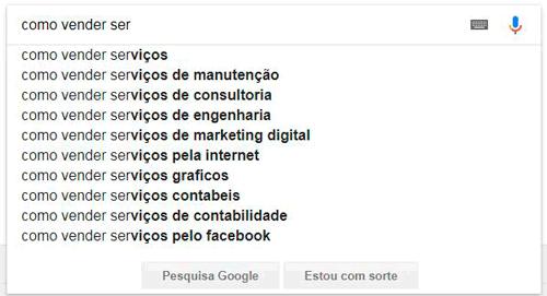 Sugestões do Google de como vender serviços